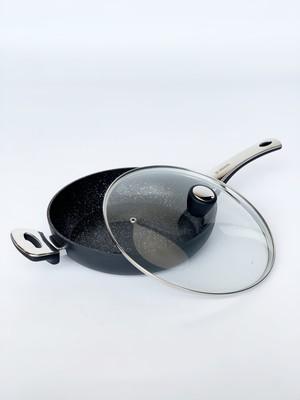 VINZER Сковорода 28см со стеклянной крышкой GRANIT INDUCTION, серия LINE